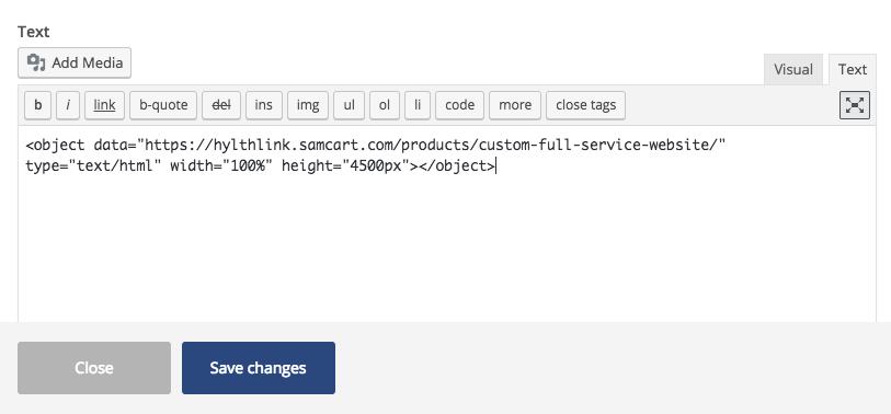 Samcart Embed code automationlinks image